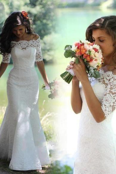 Half Sleeves Lace Mermaid Wedding Dress