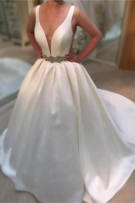 Open Back Ivory Satin Wedding Gown with Pockets