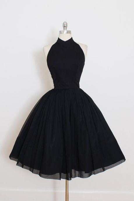 Halter Black Homecoming Dress