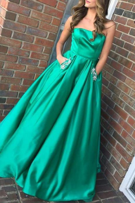 Strapless Prom Dress with Pockets