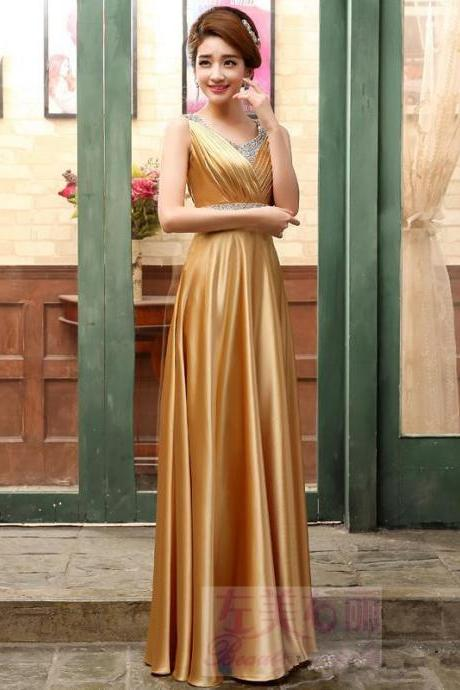 V Neck Gold Formal Occasion Dress with Beaded Waist