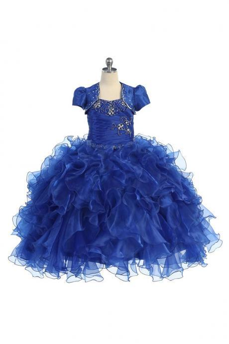 Ruffled Ball Gown Pageant Dress with Balero Jacket