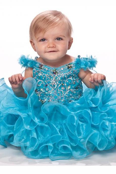 Ruffled Infant Toddler Baby Girl Pageant Dress