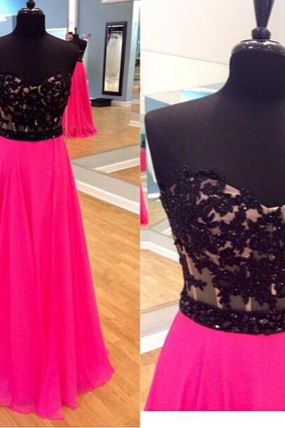 Long Formal Occasion Dress with Black Lace