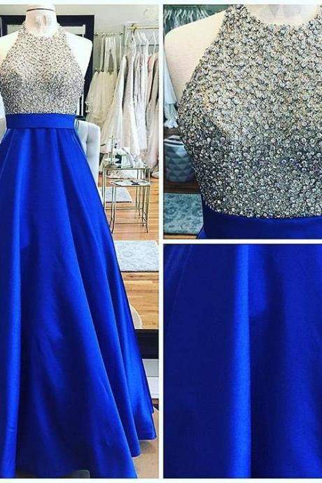Halter Royal Blue Long Prom Dress with Beaded Bodice