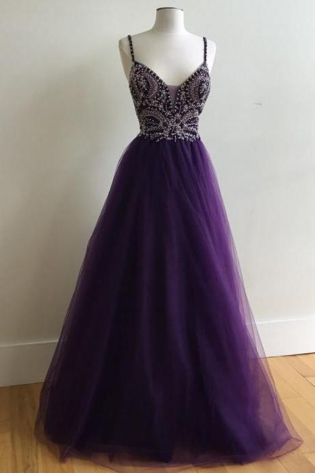 Purple Beaded Prom Dress