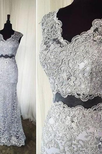 Grey Prom Dress Lace 2 Pieces Dress