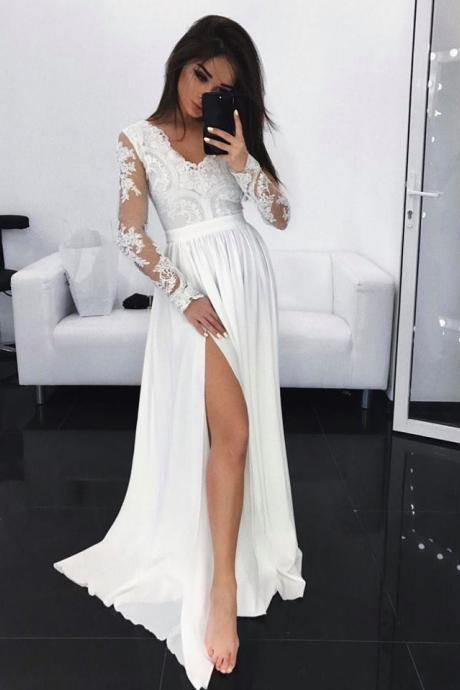 Long Sleeves Maxi Dress with Slit