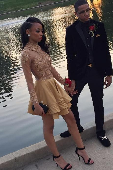 Long Sleeves Gold Short Prom Dress