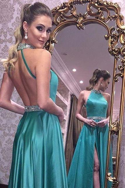 Halter Prom Dress with Split