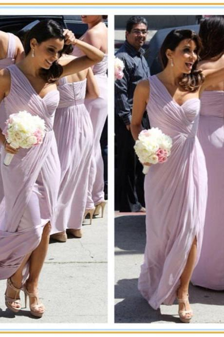 One Shoulder Pink Bridesmaid Dresses