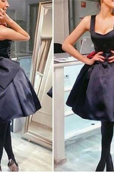 Short Black Homecoming Dress with Big Bow