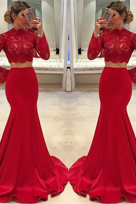 Red 2 Pieces Prom Dress with Flare Long Sleeves