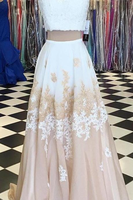 Long Two Pieces Prom Dress with Appliques Lace