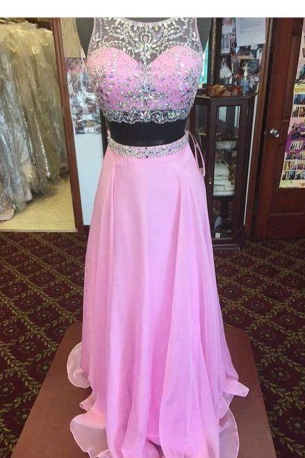 Two Pieces Chiffon Prom Dress with Beading