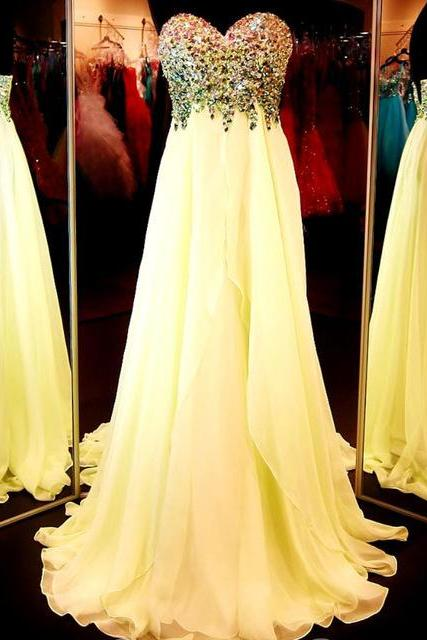 Long Yellow Chiffon Prom Dress with Crystals