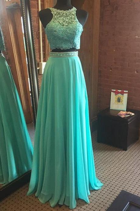 Chiffon Two Pieces Prom Dress with Beading