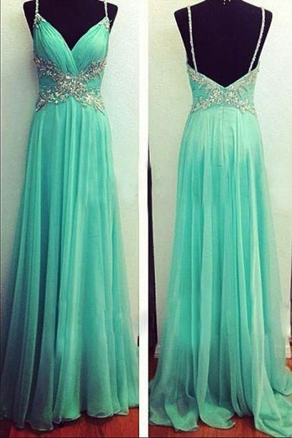 Pleated Bodice Long Chiffon Prom Dress with Spaghetti Straps