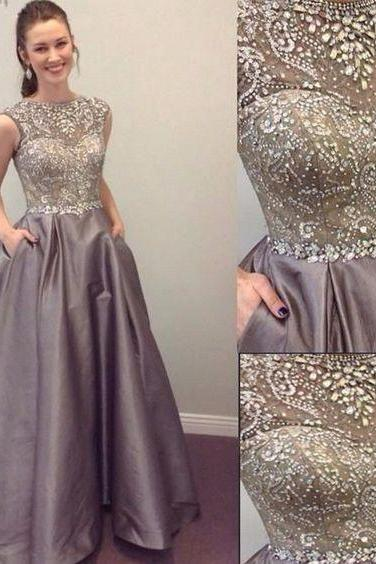 Gray Prom Dress with Beaded Bodice Pockets