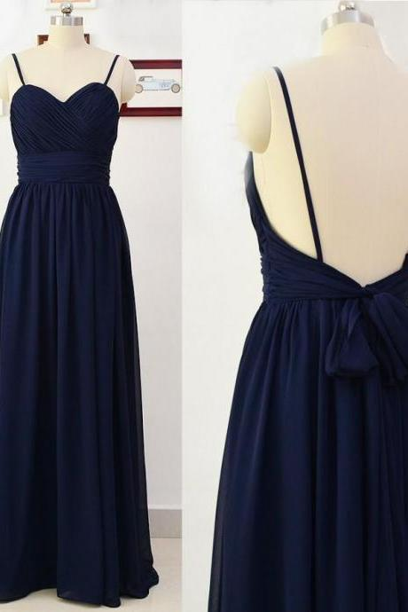 Open Back Long Navy Chiffon Formal Occasion Dress