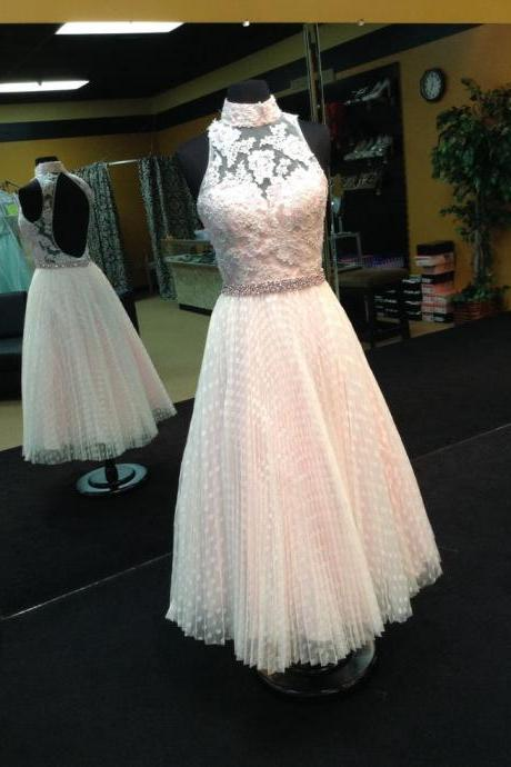 Ankle Length Ivory Prom Dress with Pleated Polka Dots Skirt
