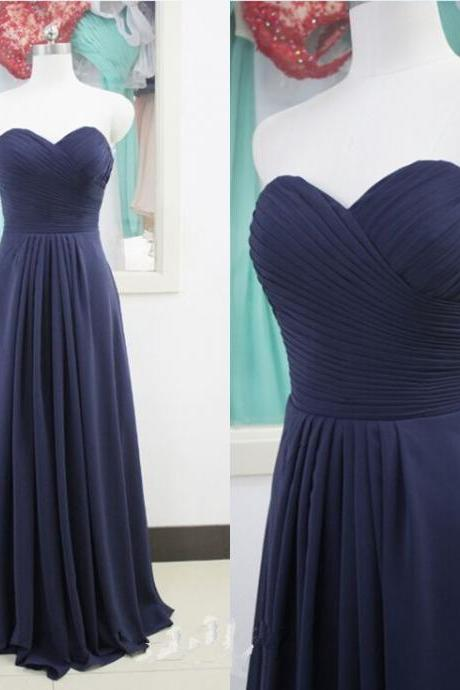 Long Navy Chiffon Evening Dress Formal Occasion Dress with Pleated Bodice
