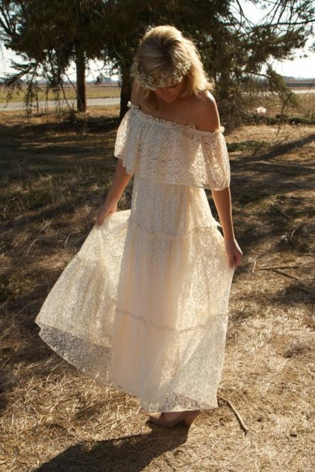 Ivory Bohemian Lace Wedding Dress