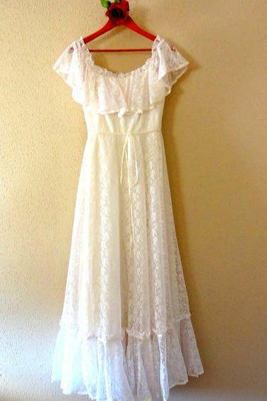 Ivory Lace Hippie Wedding Dress