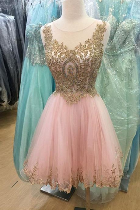 Short Pink Homecoming Semi Formal Dress with Gold Appliques