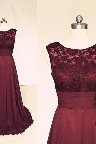 Maroon Chiffon Lace Bridesmaid Dress Formal Occasion Party Dress