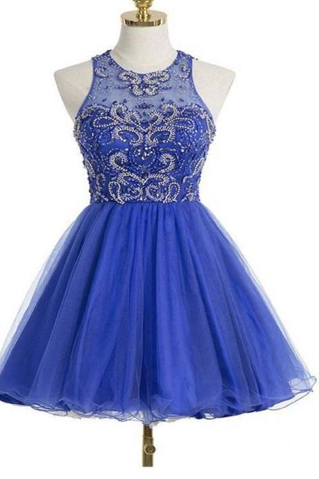 Open Back Short Royal Blue Beaded Graduation Dress