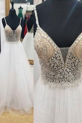 Prom Dress with Beaded Spaghetti Straps