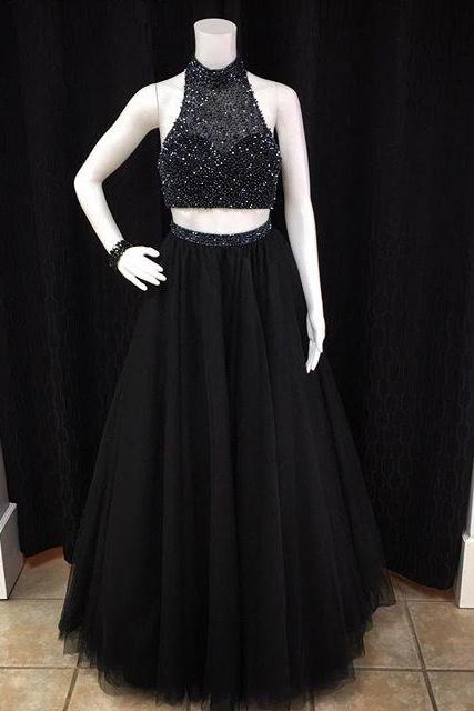 Black Two Pieces Prom Dress with Beaded Crop Top