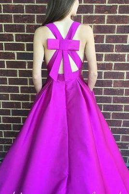 V Neck Prom Dress with Back Bow