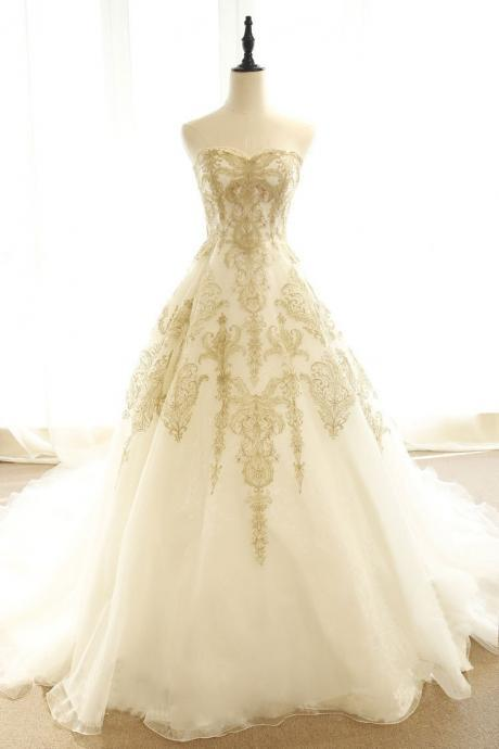 Ivory Modern Wedding Dress with Gold Lace