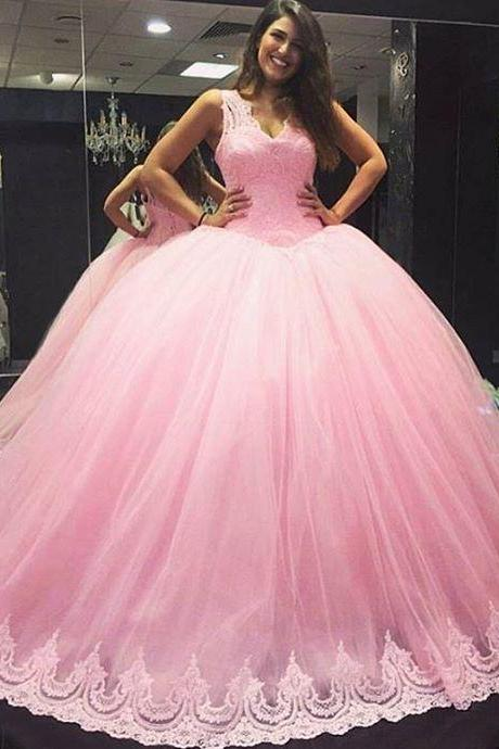 V Neck Ball Gown Quinceanera Dress with Lace Trim