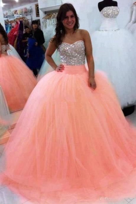 Sleeveless Ball Gown Quinceanera Dress with Silver Beaded Bodice