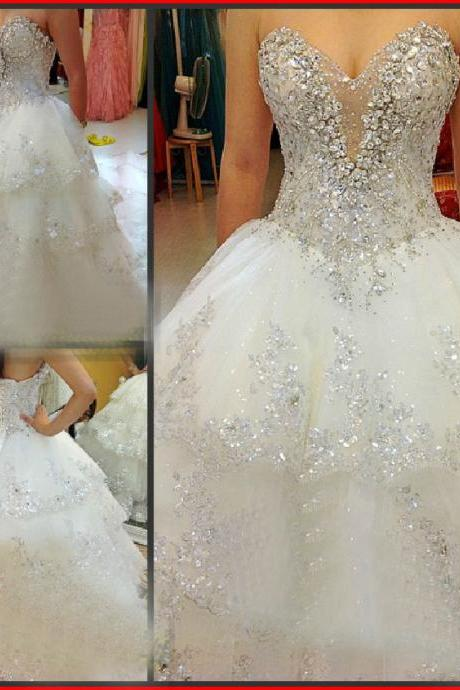 Crystaled Bling Bling Bridal Dress with Tiered Skirt