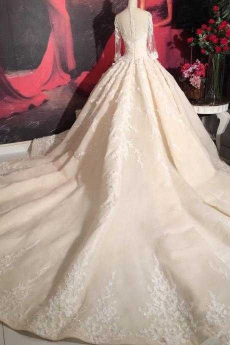 Long Sleeves Lace Wedding Dress with Long Train