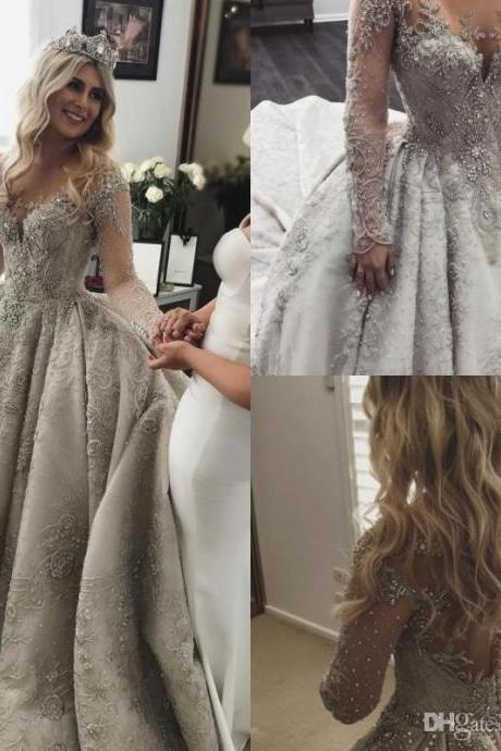 Long Sleeves Ball Gown Wedding Dress with Crystals