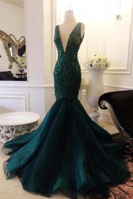 Sleeveless Plunging V Sequined Mermaid Tulle Prom Dress, Evening Dress