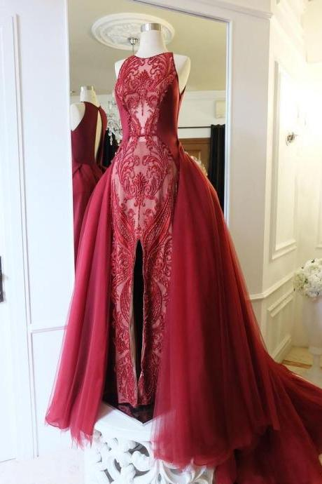 Burgundy Lace Formal Occasion Dress with Detachable Skirt