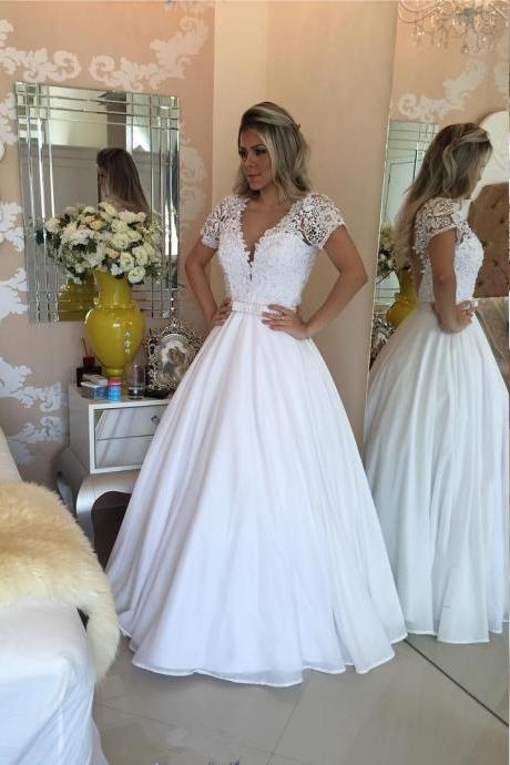 Short Sleeves White Wedding Dress with Pearls Waist