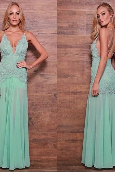 V Neck Chiffon Prom Dress with Lace Overlay