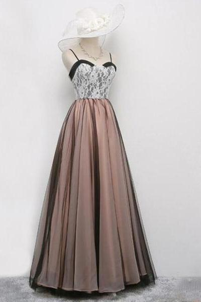 Sweetheart Spaghetti Strap Lace Tulle Long Prom Dress, Evening Dress