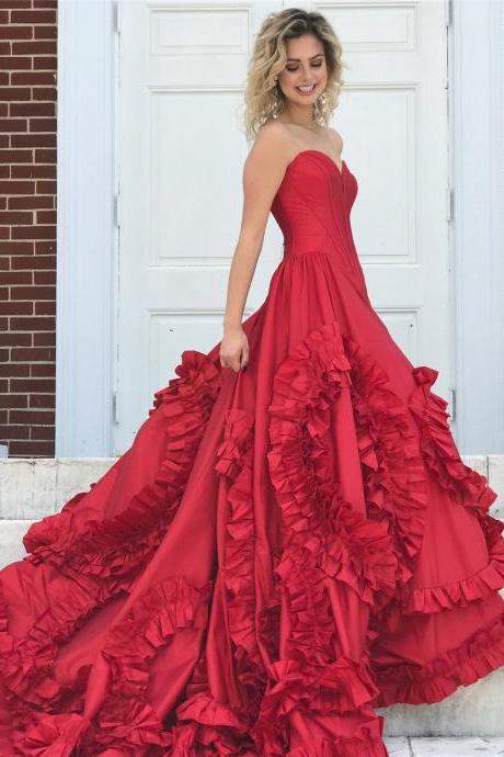 Sleeveless Red Taffeta Prom Dress