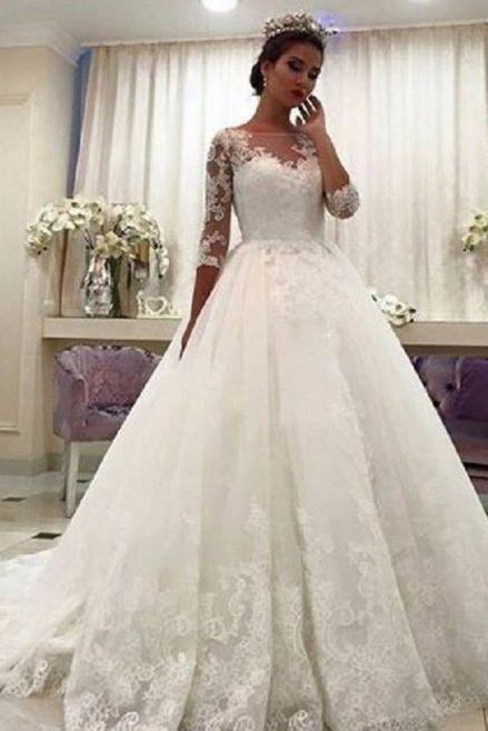 Half Sleeves Ivory Ball Gown Wedding Dress