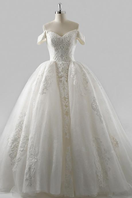 Off the Shoulder Lace Wedding Dress with Detachable Overskirt