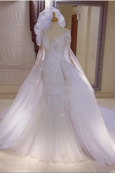 Long Sleeves Glittwe Wedding Dress with Detachable Overskirt