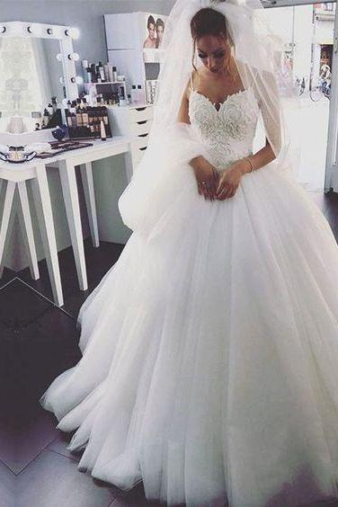 Spaghetti Straps Ball Gown Wedding Dress with Lace Bodice Bridal Dress